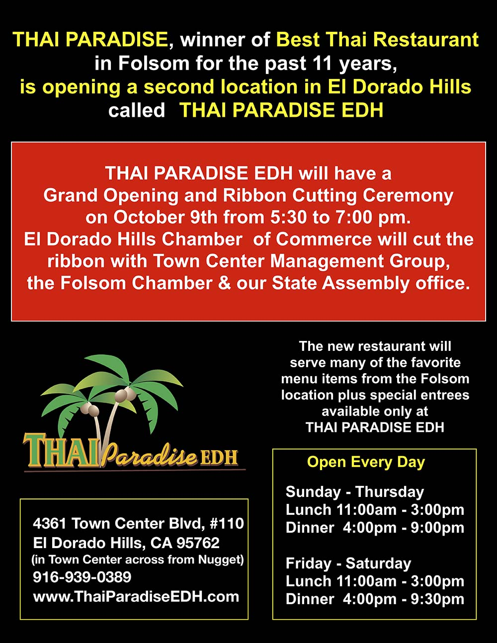 Thai Paradise Restaurant Folsom Ca 916 984 8988